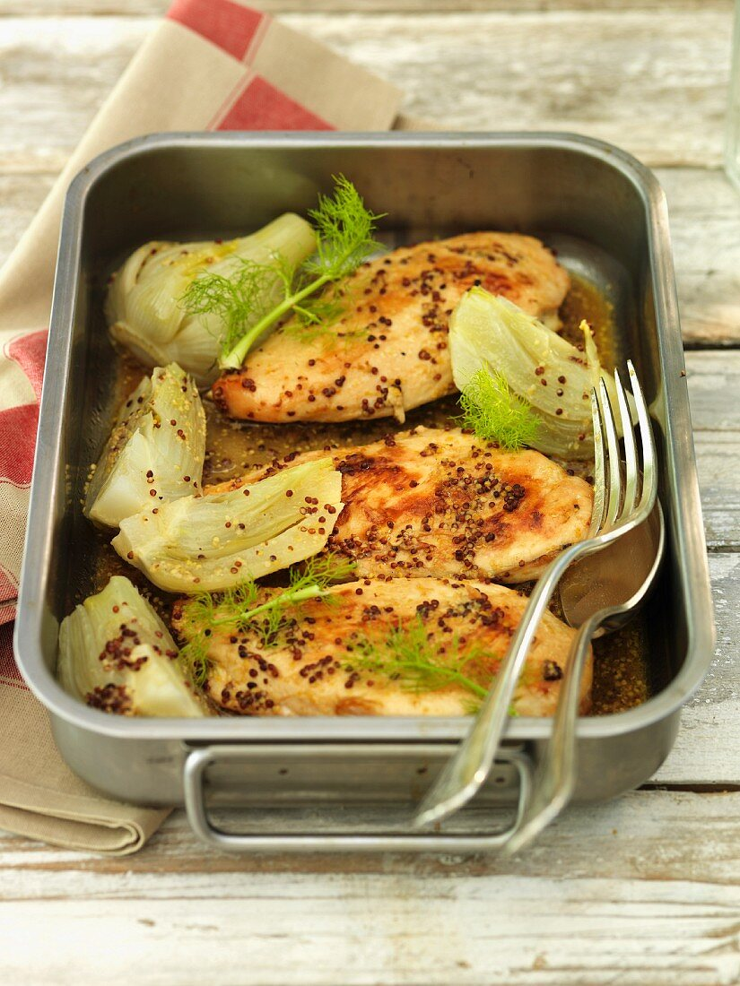 Chicken breast with mustard and a fennel medley