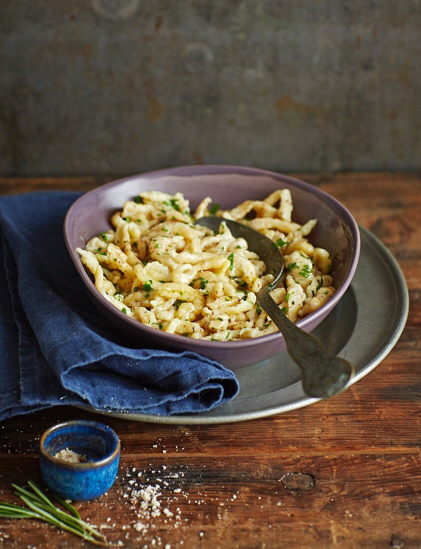 Spätzle (soft egg noodles from Swabia) with hazelnuts and parsley