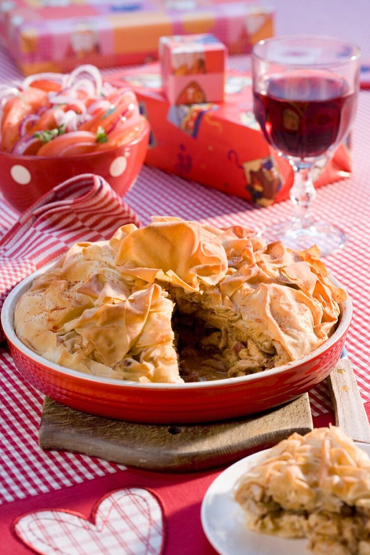 Chicken pie with mushrooms for Christmas