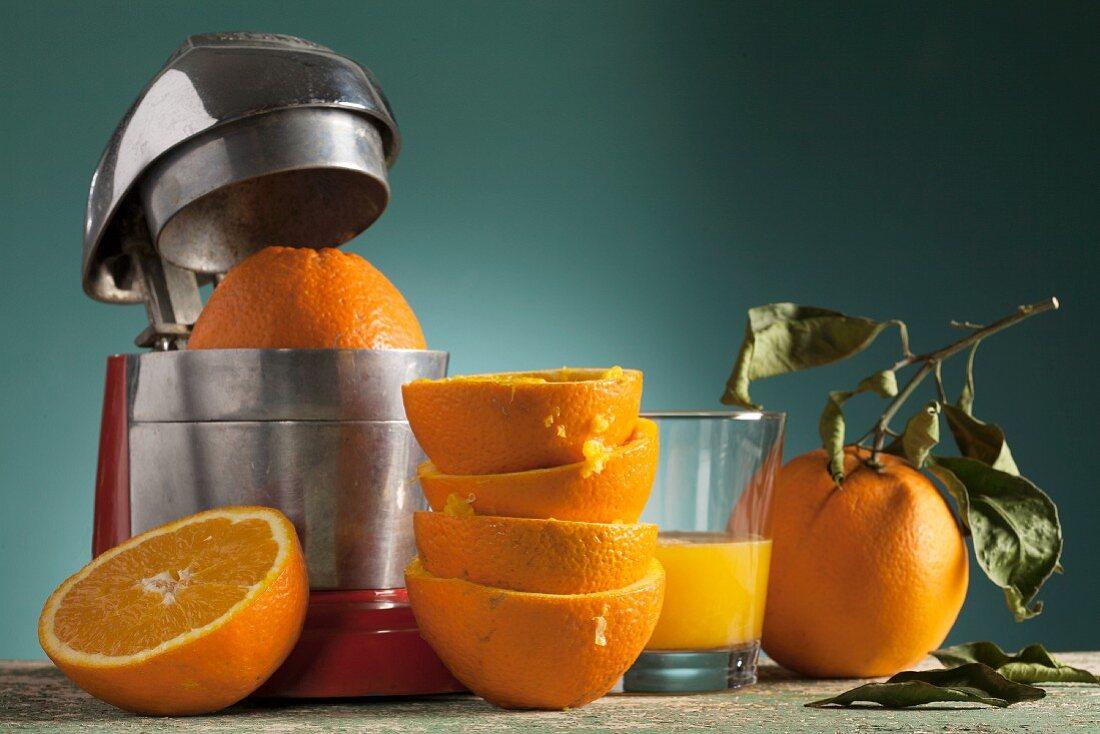 An arrangement of fresh orange juice, an orange press and squeezed oranges