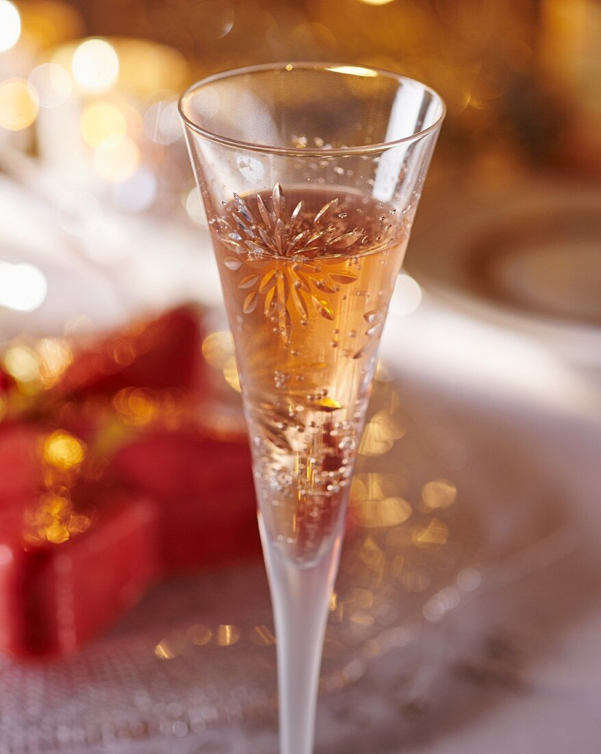 A glass of champagne with praline parfait (Christmas)