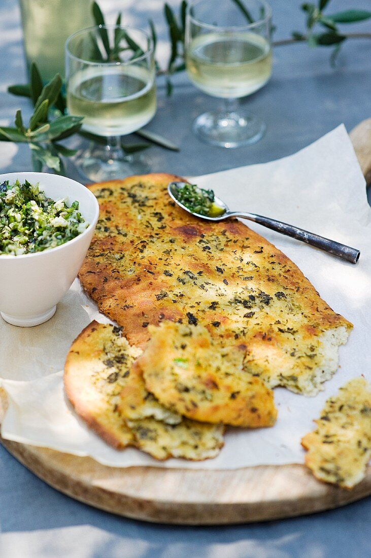 Focaccia with garlic and basil