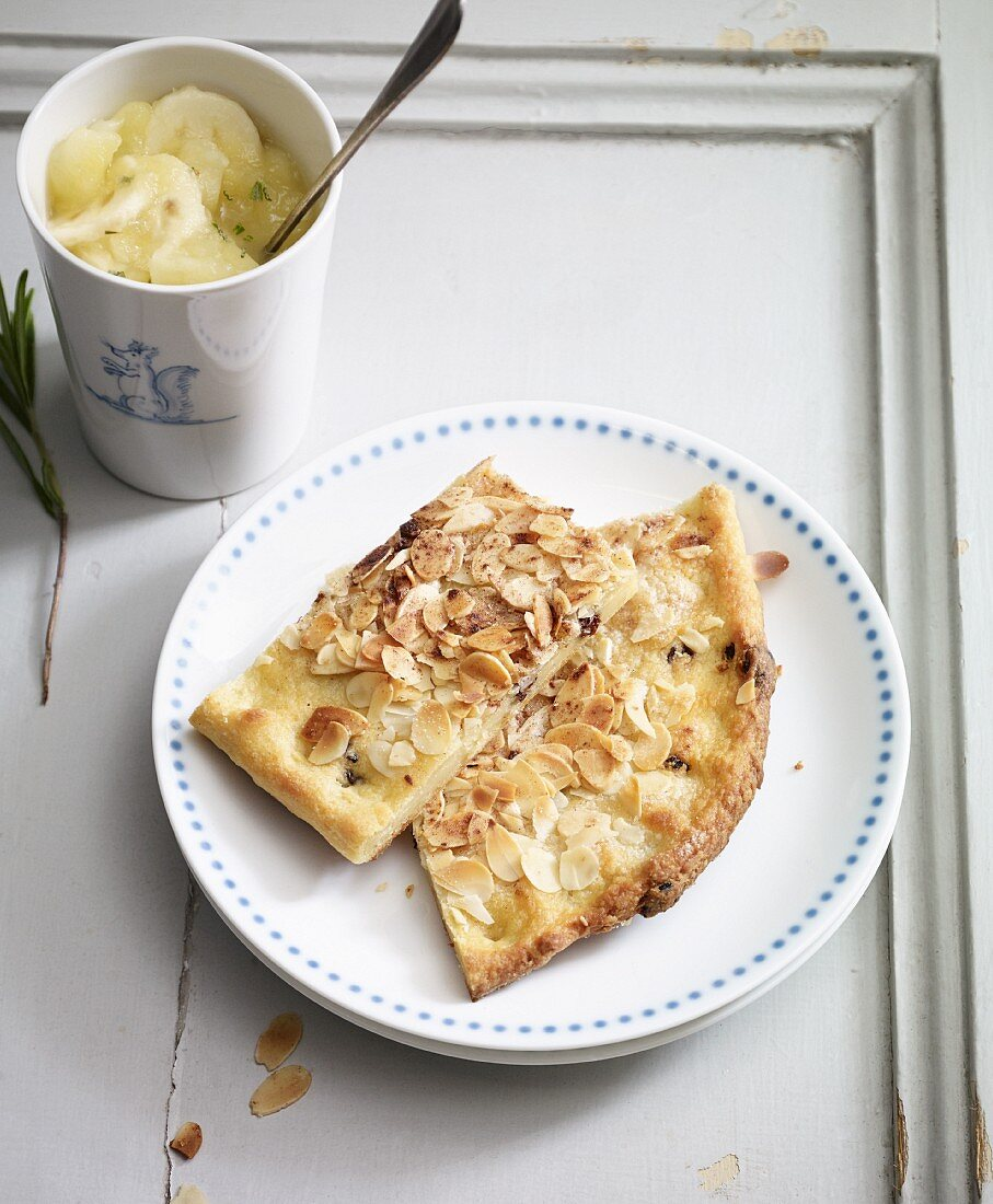 Potato butter cake with banana and apple compote
