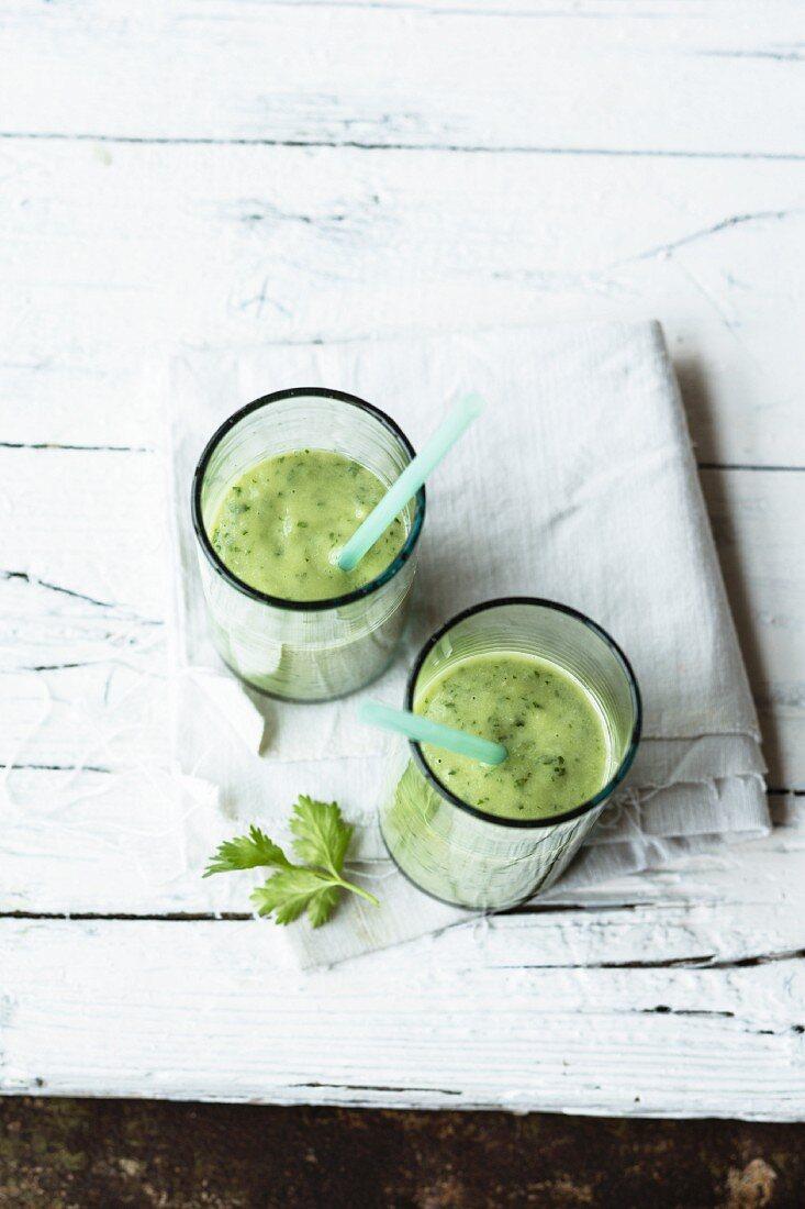 A cucumber and avocado smoothie