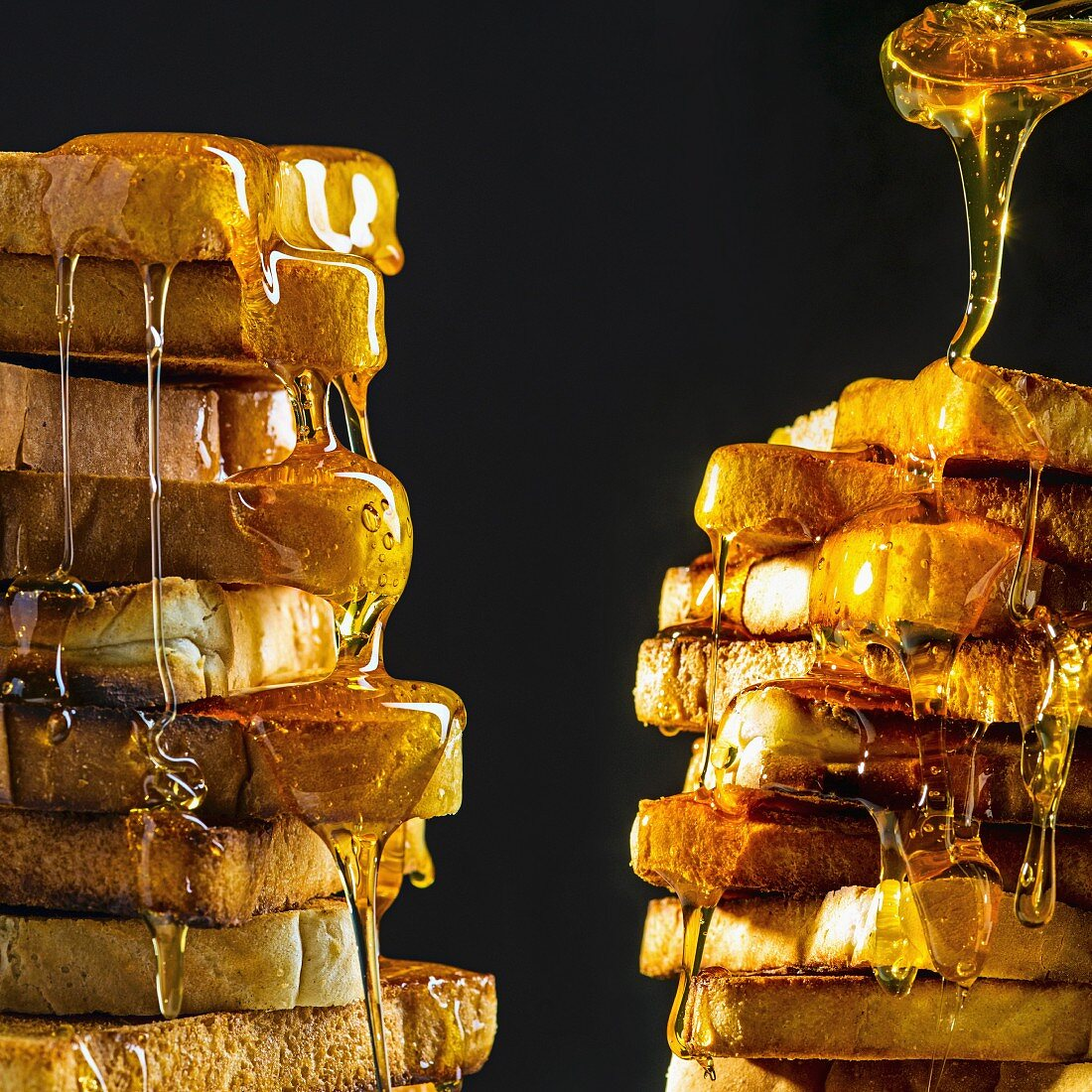 Stacks of toast with lots of honey