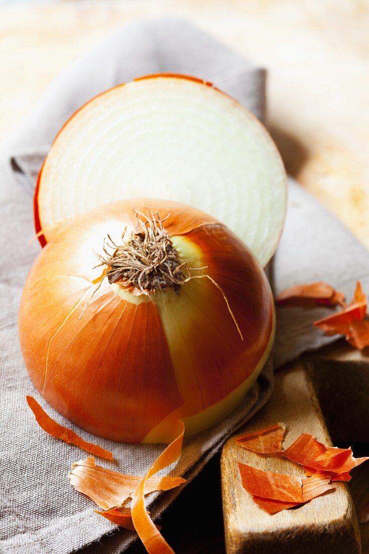An onion, halved