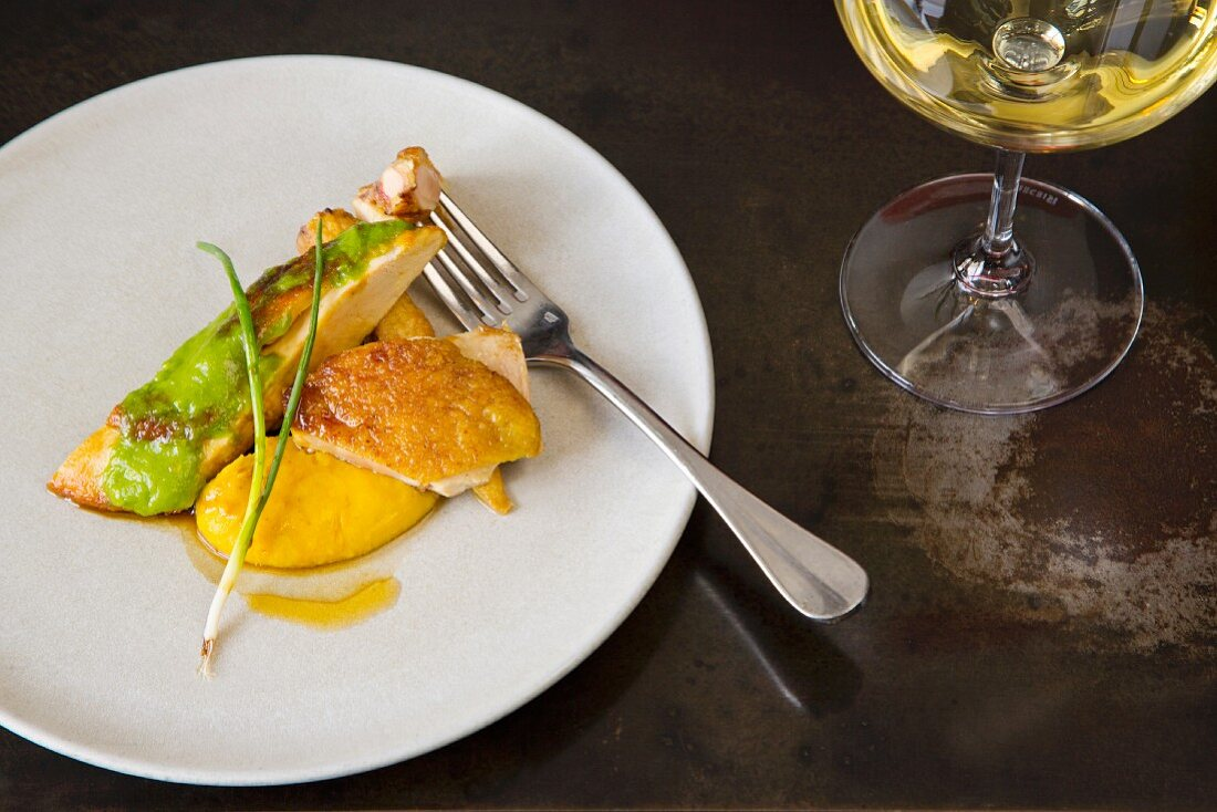 Roast chicken breast with polenta, baby corn and miso from the 'Cutler & Co', restaurant, Melbourne, Australia