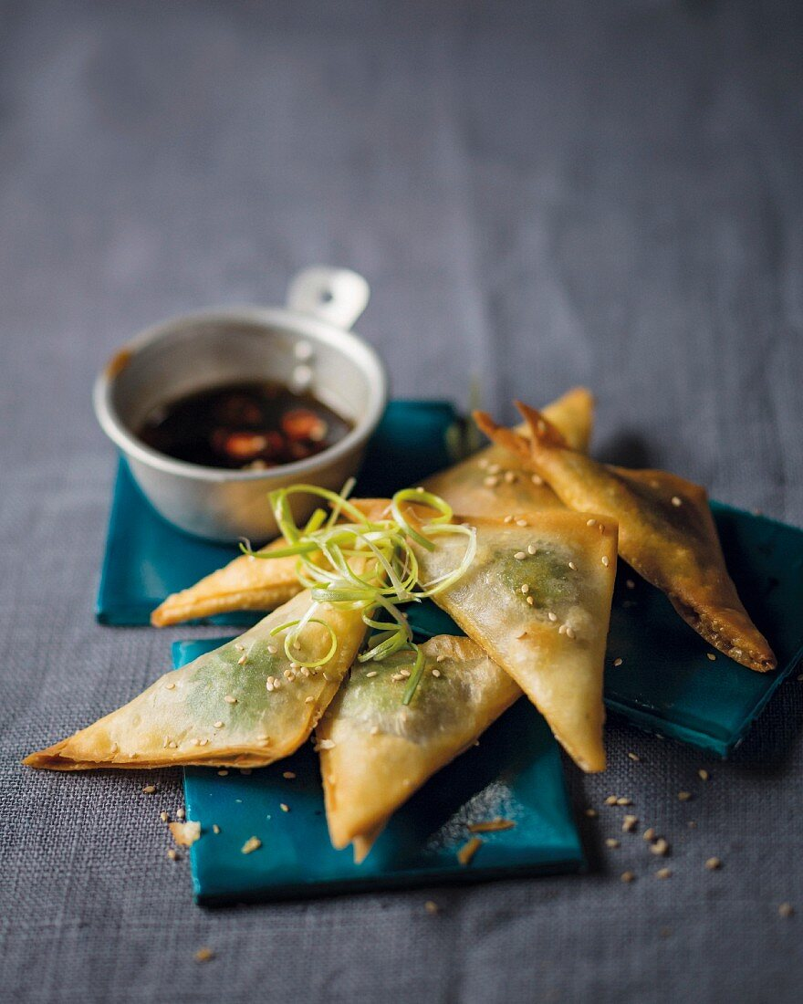 Crispy wontons filled with mushrooms served with soy sauce