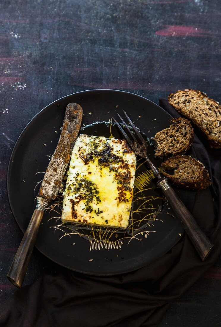 Roasted feta with oregano, olive oil and bread