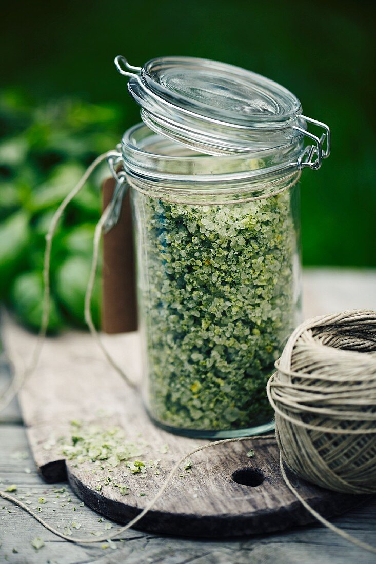A jar of homemade herbal salt