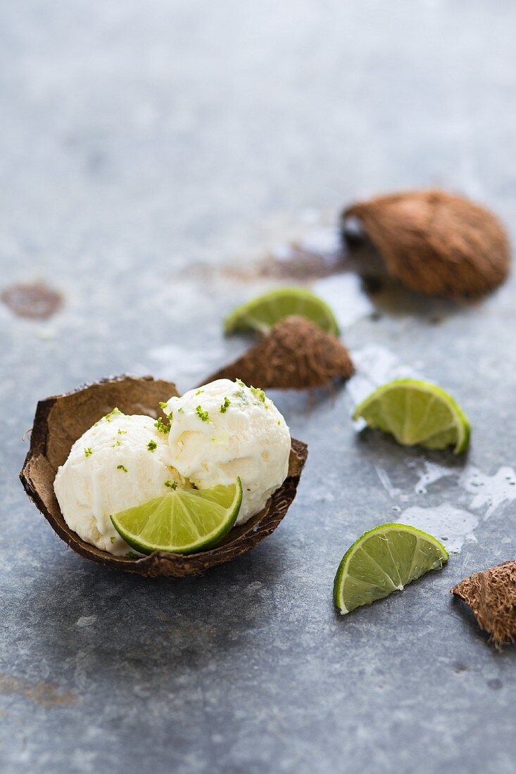 Scoops of coconut and lime ice cream in a coconut shell