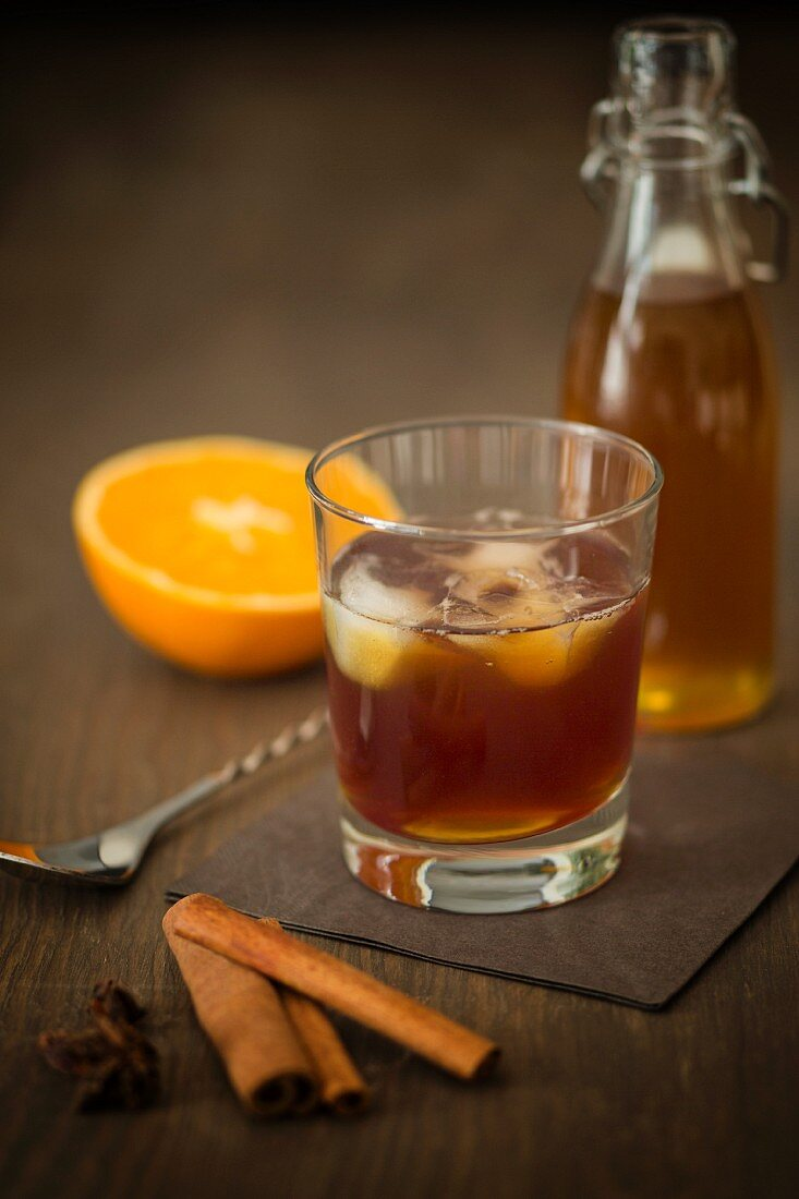 Old Fashioned Rum with homemade cinnamon and orange syrup