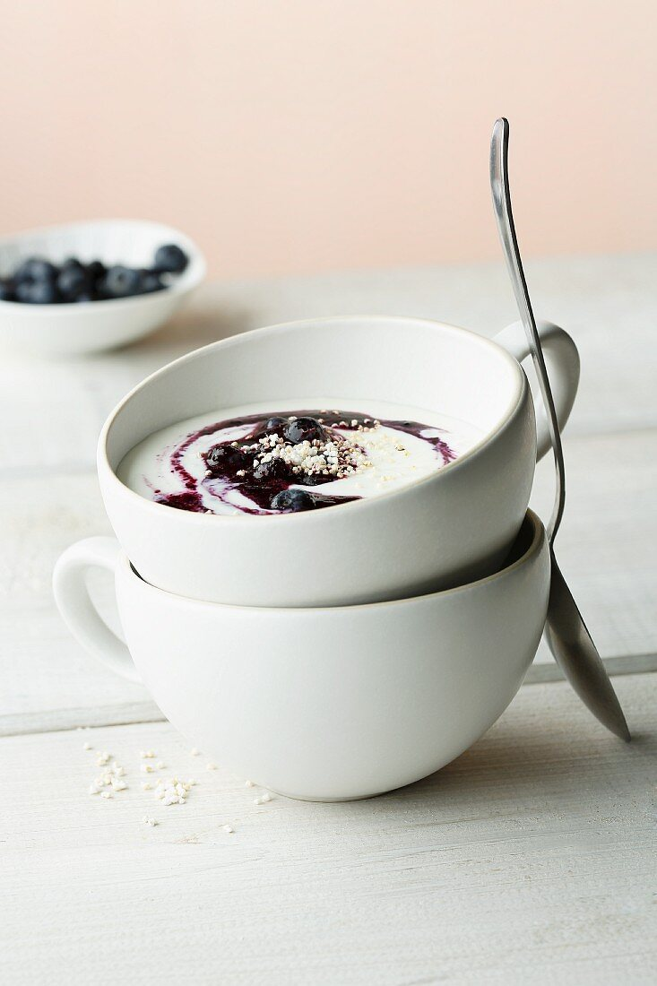 Cold sour milk with blueberries and amaranth pops