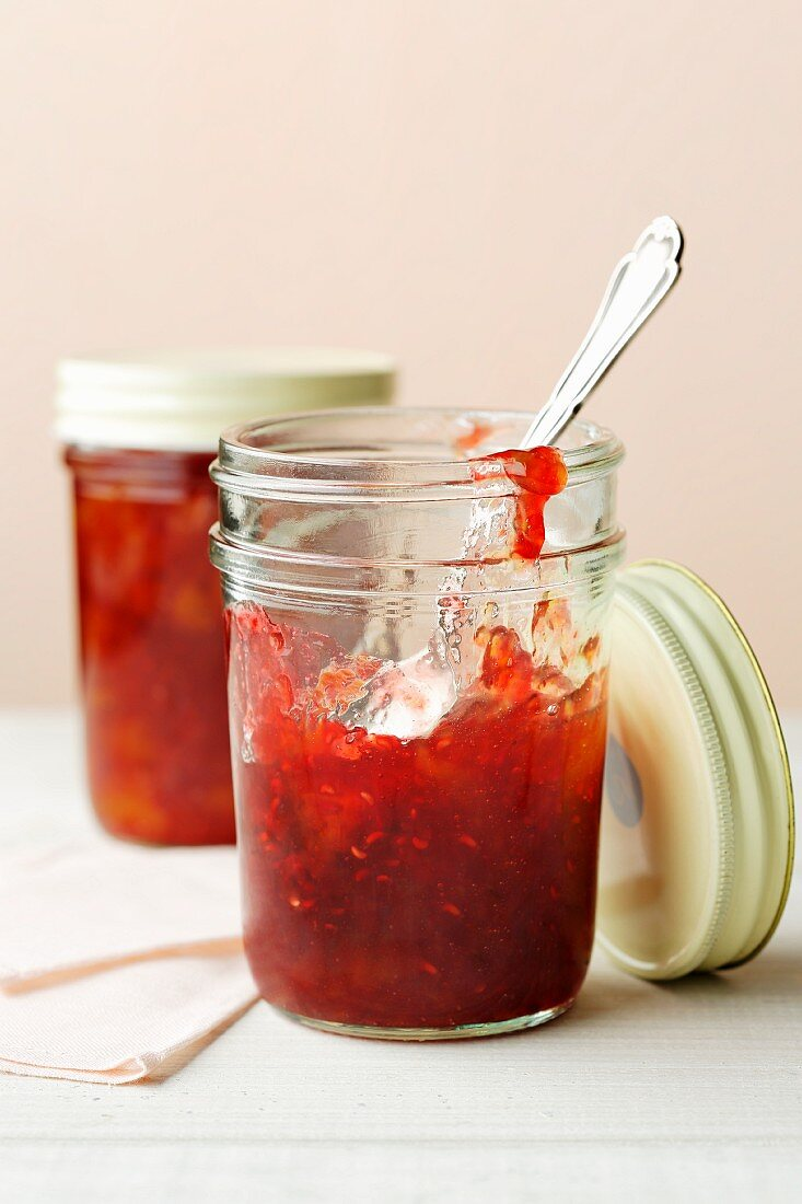 Vegan raspberry and peach jam