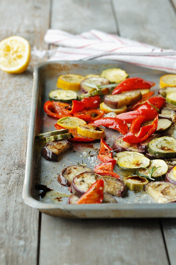 Quick oven-roasted vegetable antipasti
