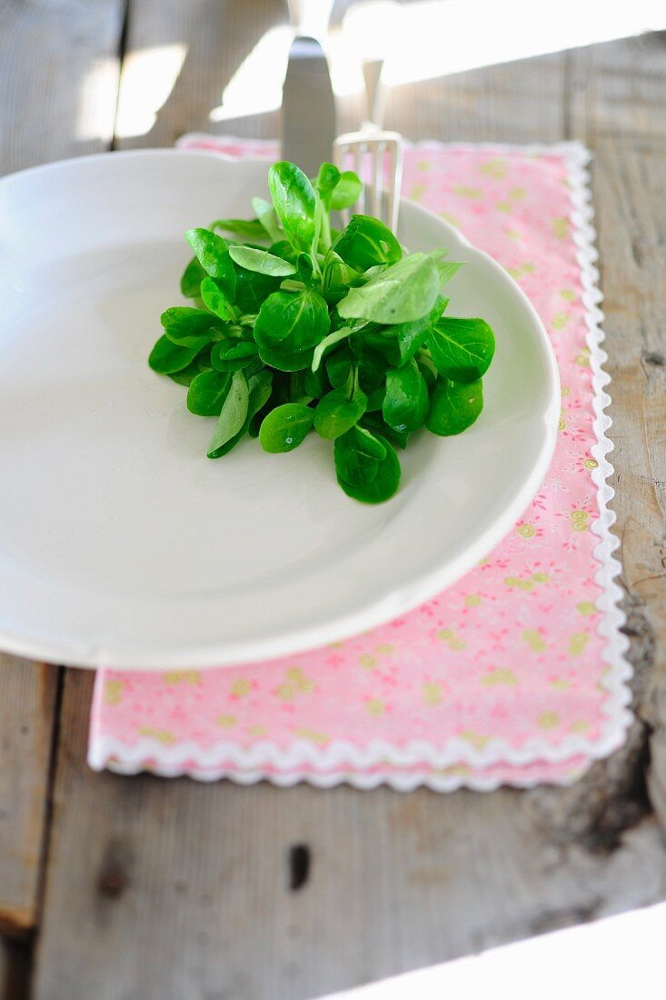 A white plates with a lamb's lettuce garnish
