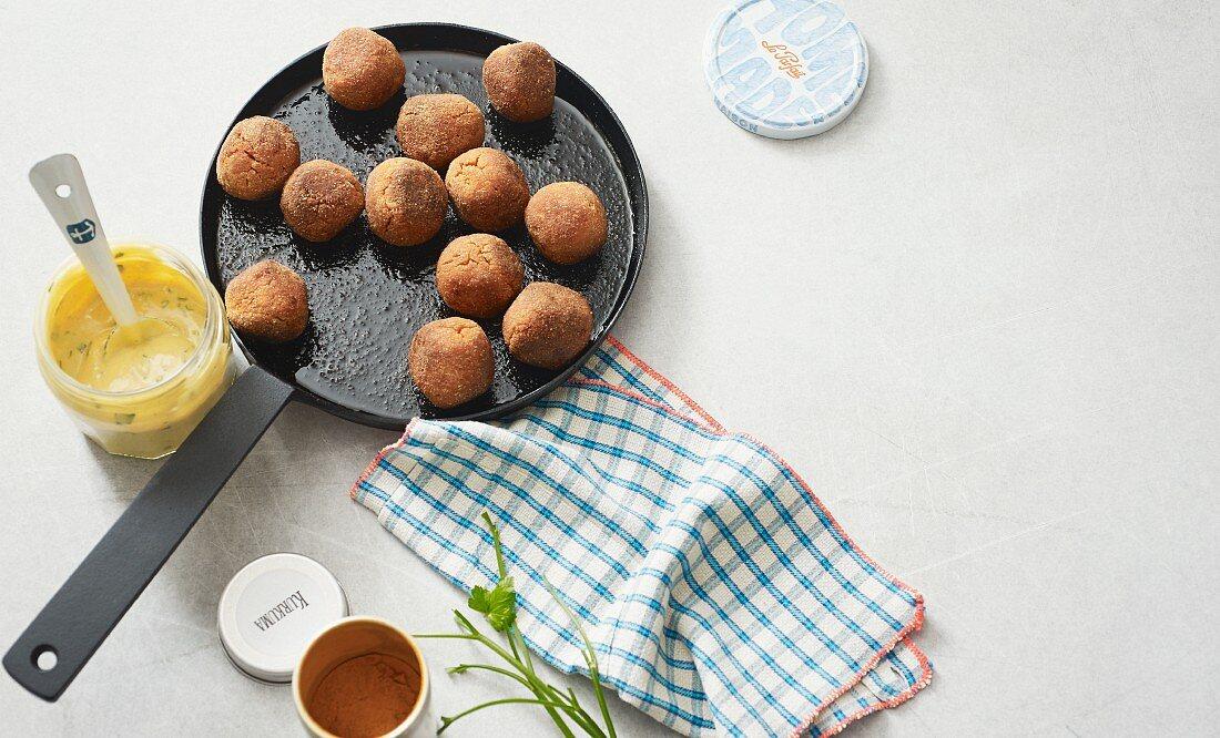 Vegan tofu balls with an almond mousse dip