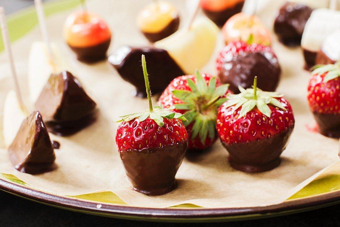 Vegan chocolate fruits