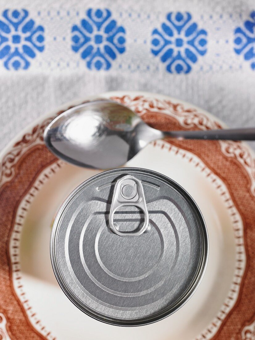 A tin can with a ring-pull on a plate with a spoon