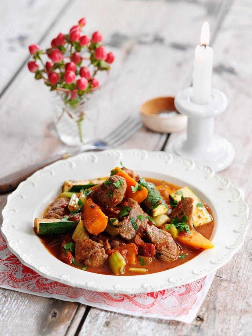 Navarin with vegetables (lamb ragout, France)