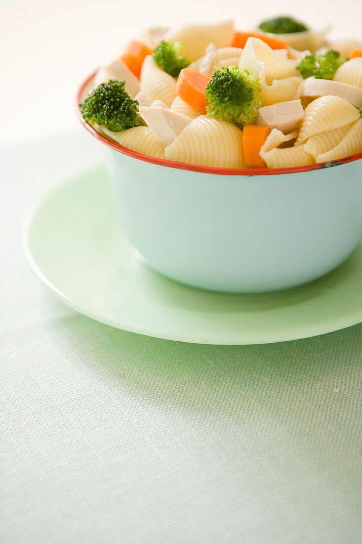 Shell pasta with broccoli, carrots and tofu