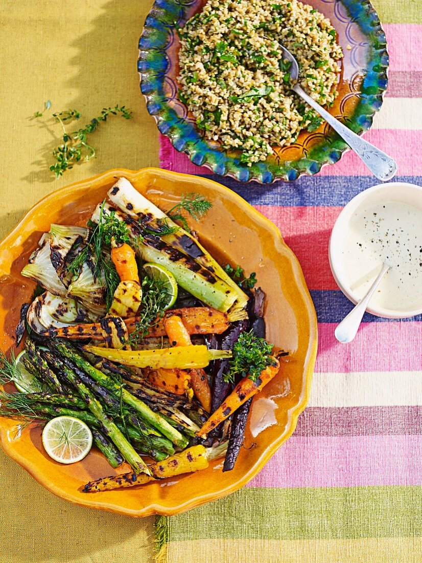 Freekah salad and Summer vegetables with tarragon mayonnaise
