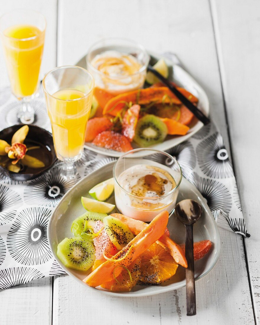 Winter fruit salad with spiced yoghurt