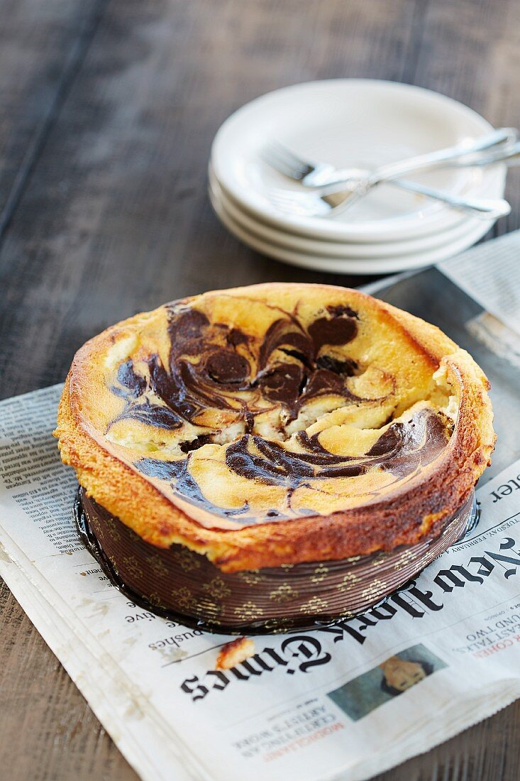 A New York cheesecake with chocolate
