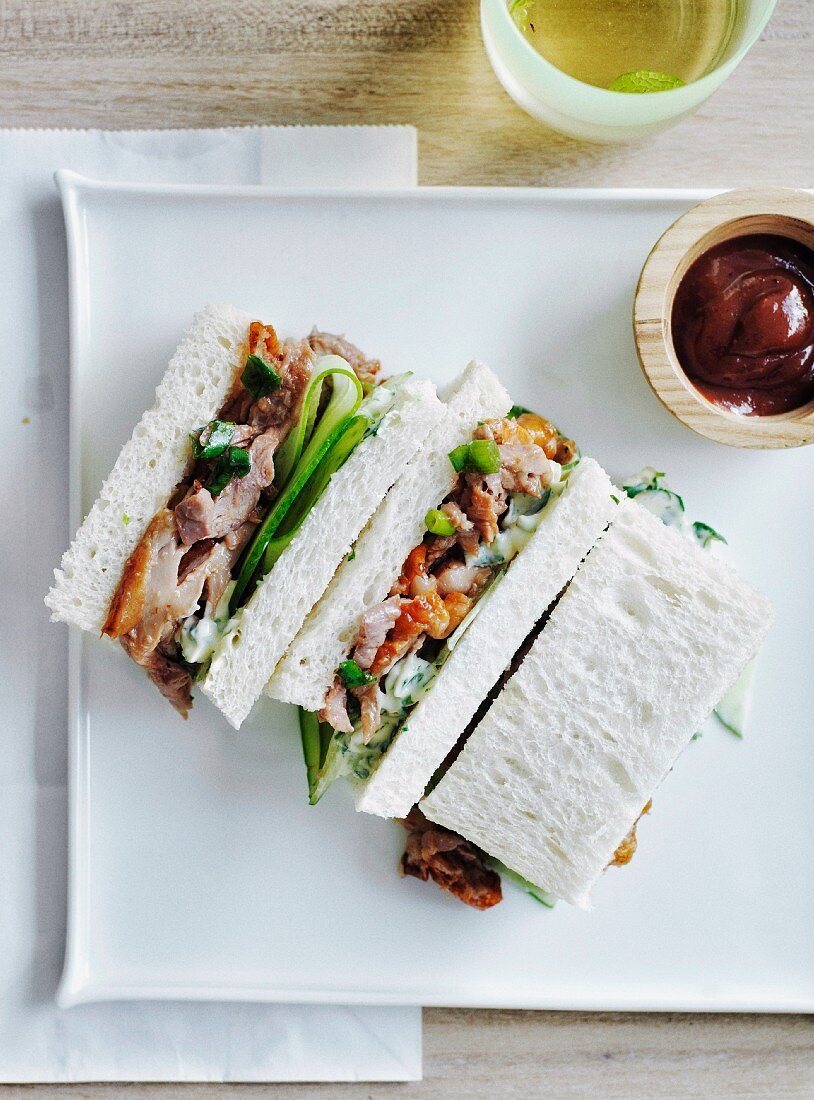 Peking duck and cucumber tea sandwiches