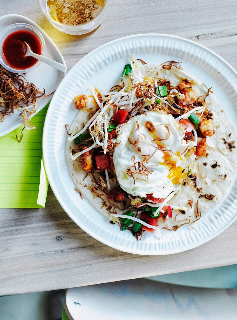 Prawn and egg roti