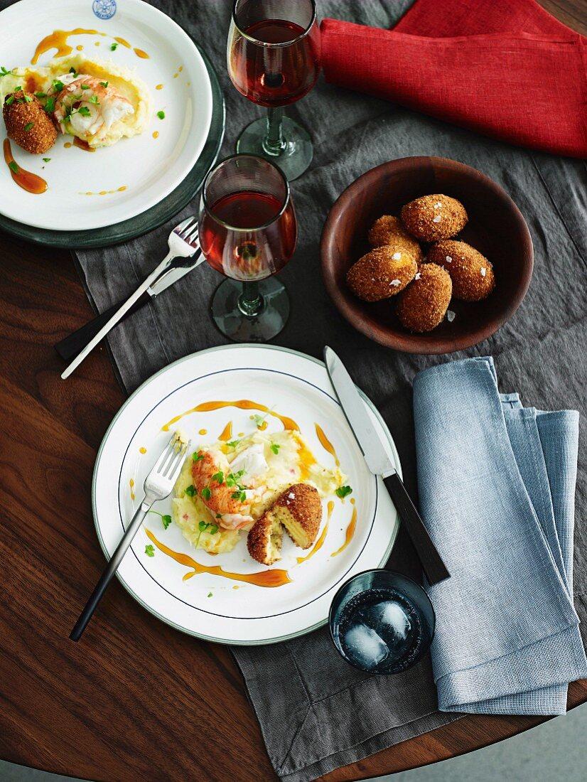 Marron with brandade, potato croquettes and orange caramel