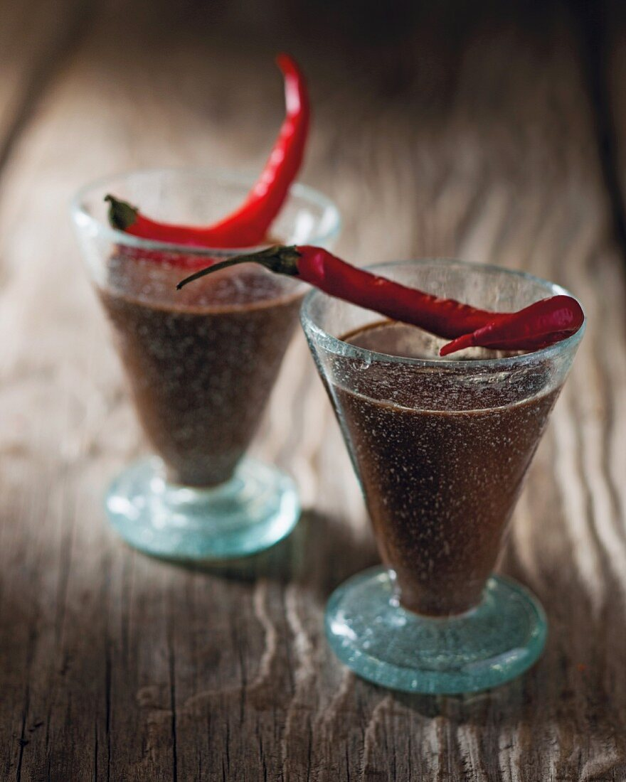 Spicy chocolate and vodka drinks