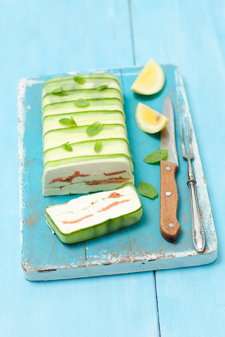 Quark and salmon terrine with cucumber, sliced