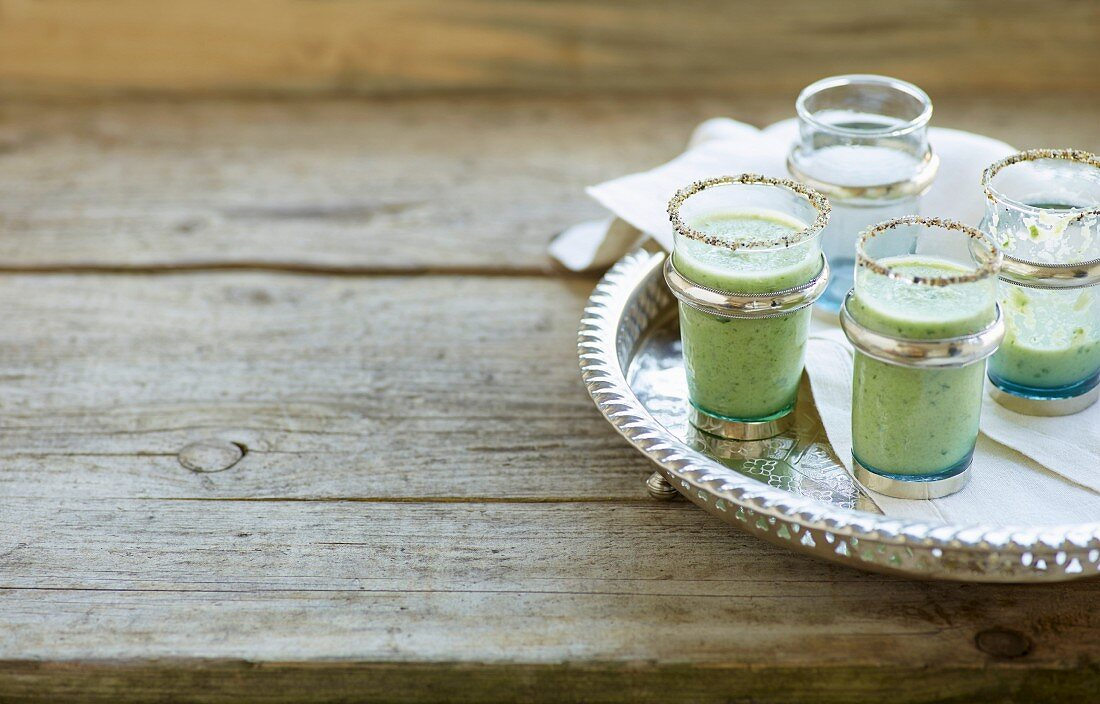 Cold cucumber and dill shots