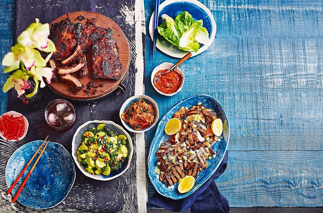 Pork ribs, spicy bulgogi chicken, bulgogi beef, cucumber and kale kimchi
