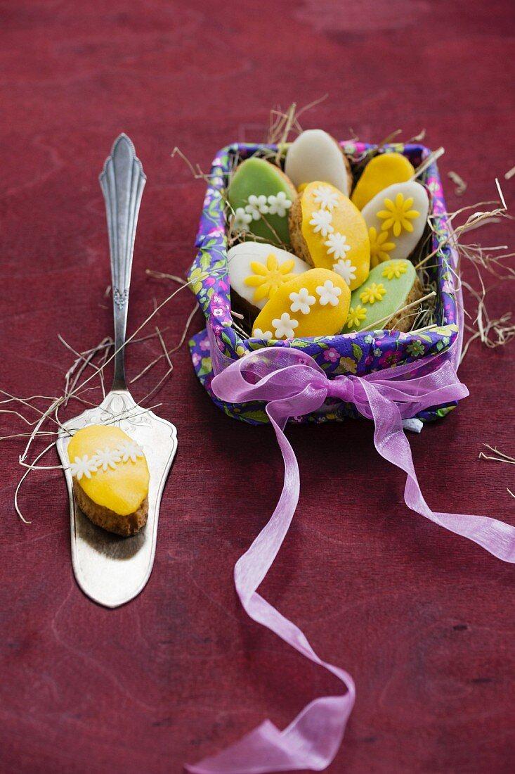 Mini marzipan pancakes in an Easter basket