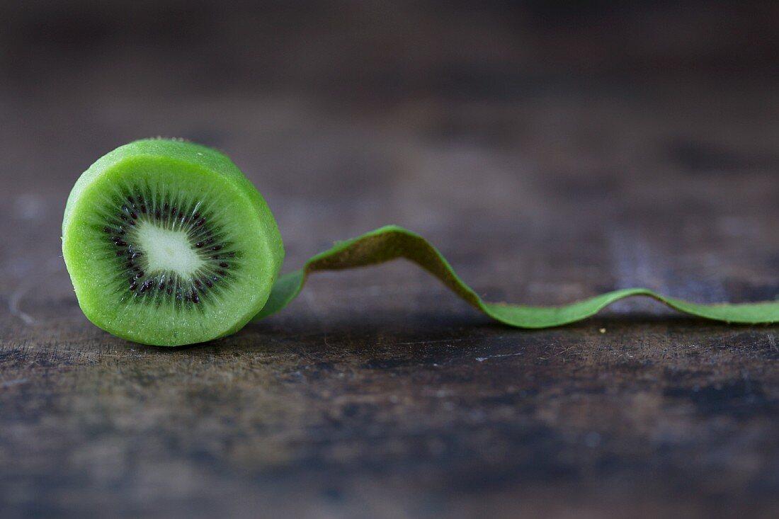 A peeled kiwi