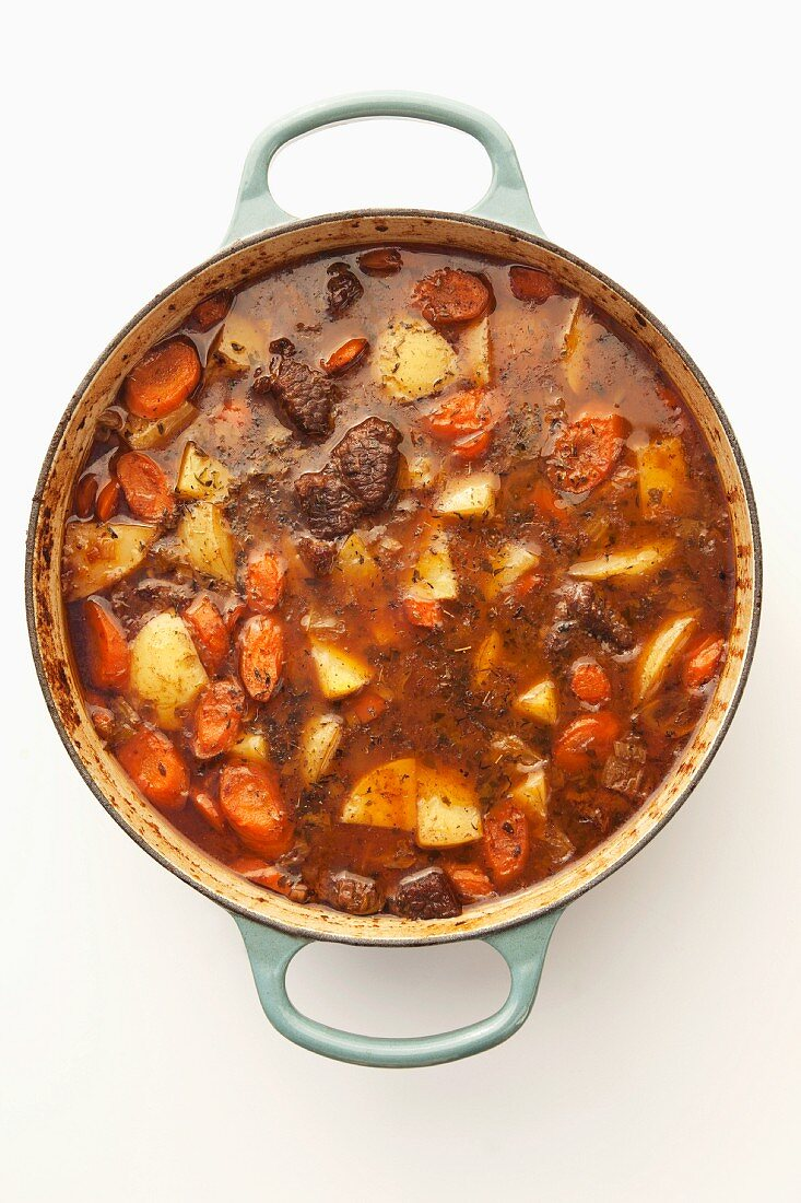 Beef goulash in a pot (seen from above)