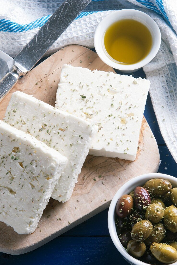 Feta cheese, olive oil and olives