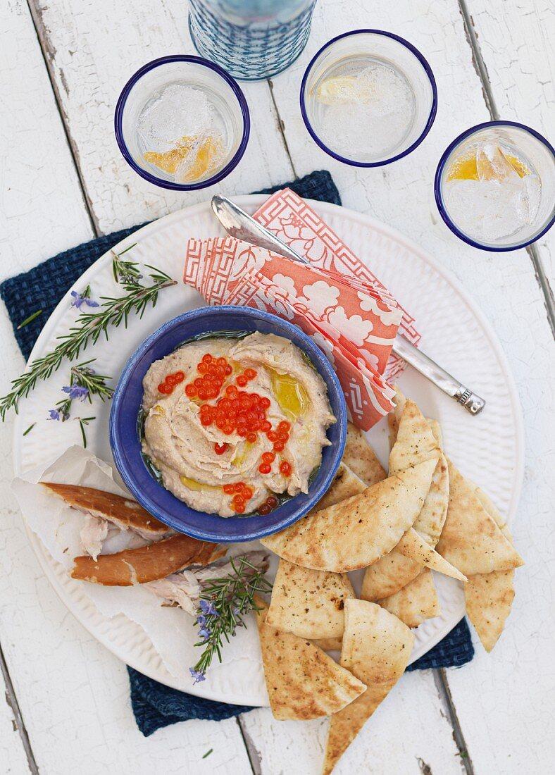 Taramasalata with pita bread and salmon caviar