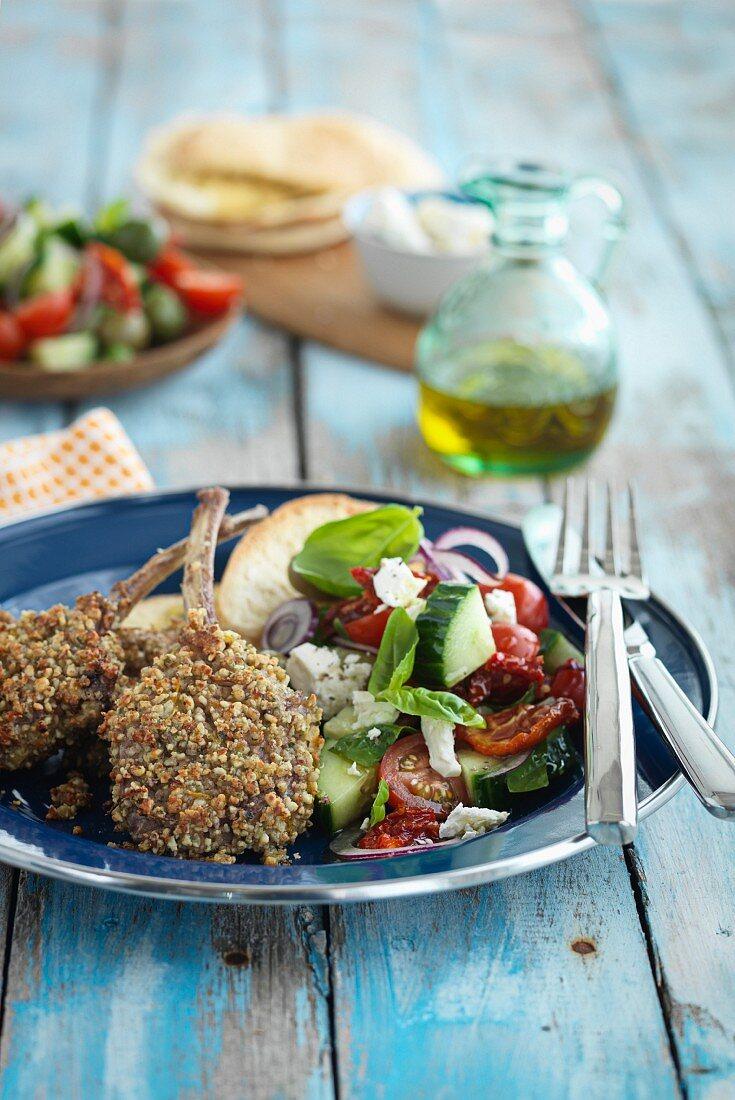 Crusty lamb chops with a side salad