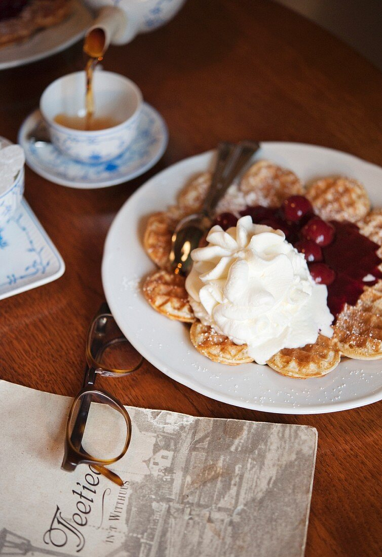 Waffles with cherry, hot and cream at Cafe Teetied on the island of Spiekeroog