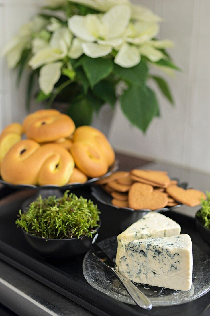 Biscuits, pastries and blue cheese on black tray in front of white poinsettia