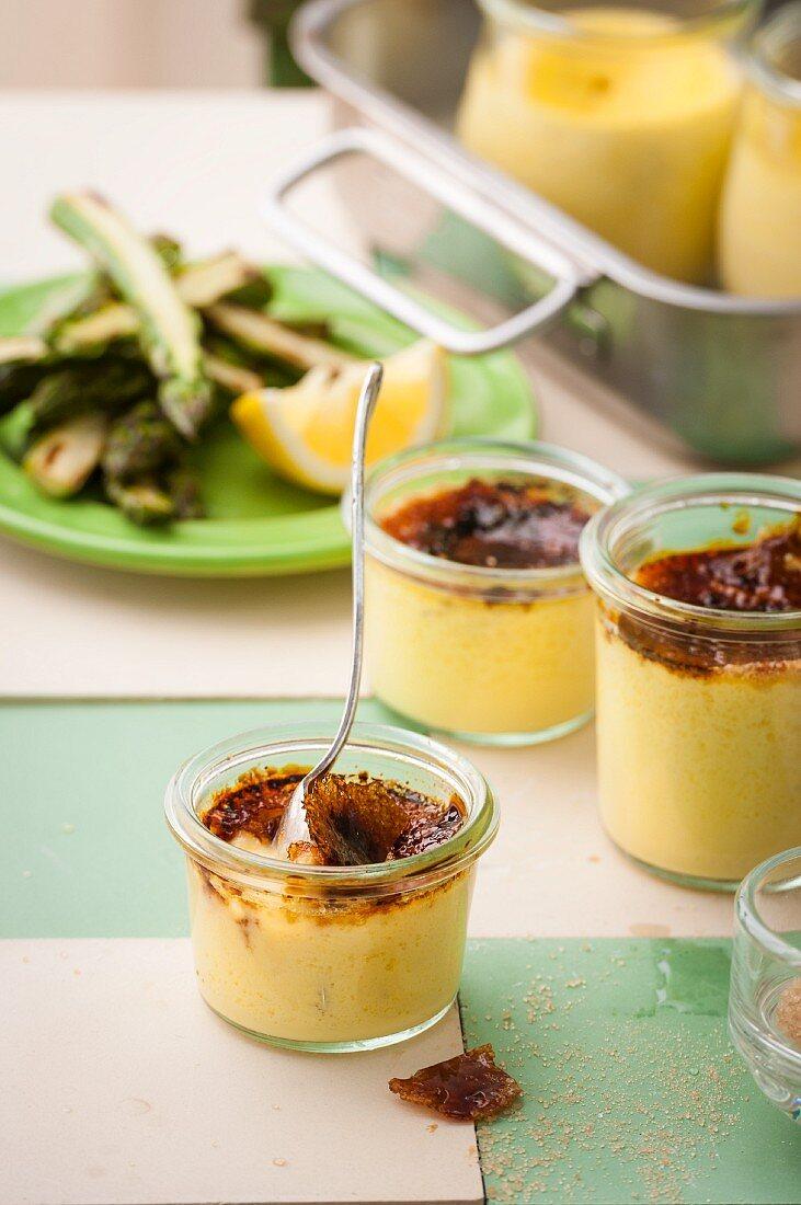 Asparagus crème brûlée