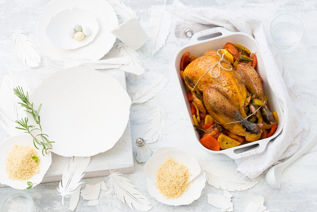 Roast guinea fowl with vegetables for Easter