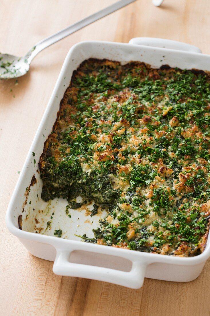 Spinach gratin in a baking dish