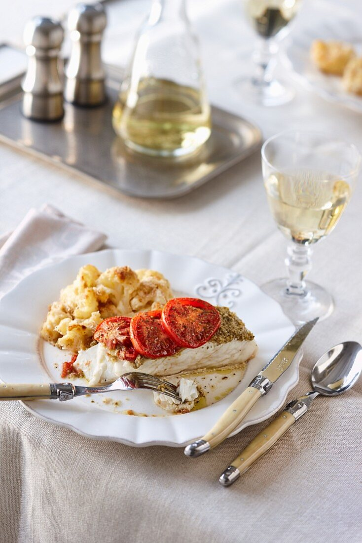Oven-roasted fish with cauliflower gratin