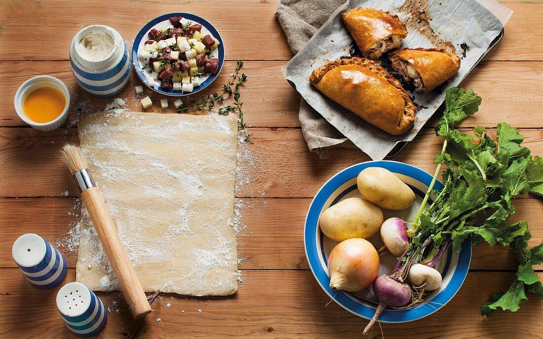 Beef, potato and turnip pasties