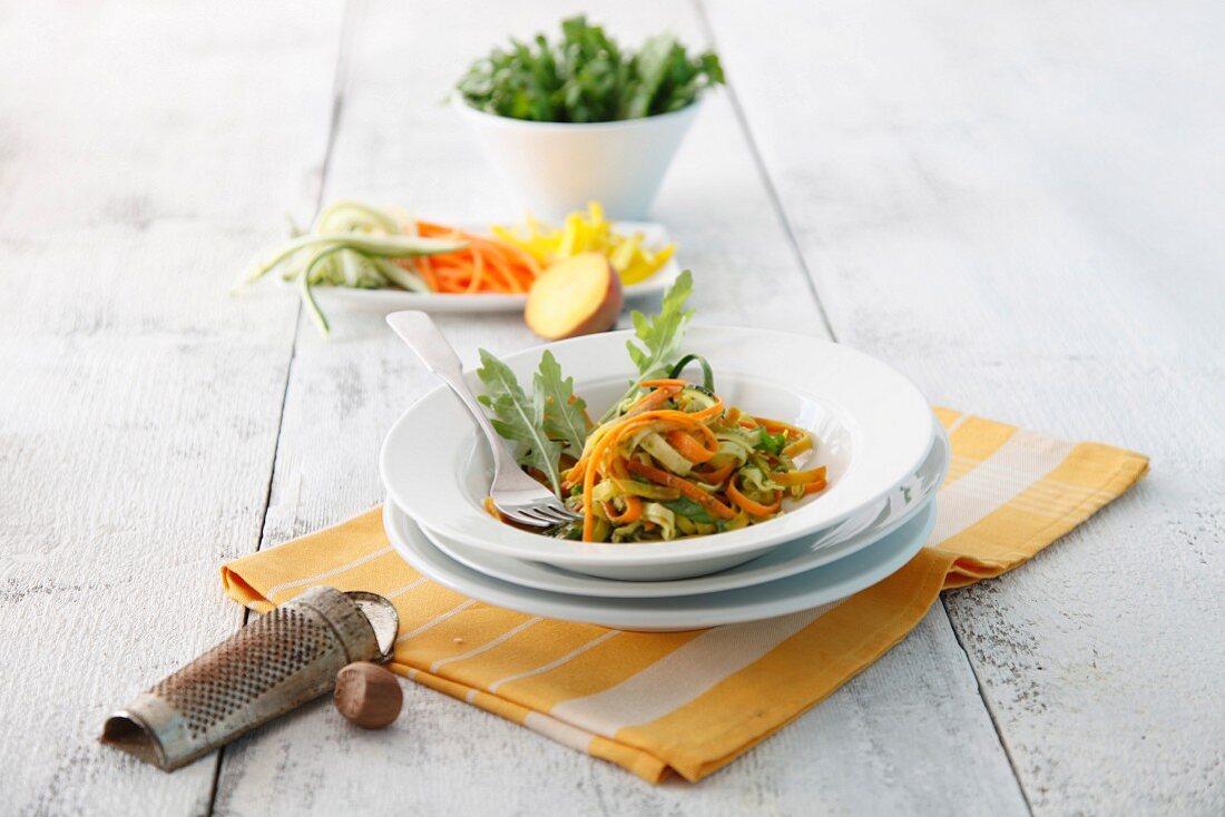 Vegetable pasta with herb pesto