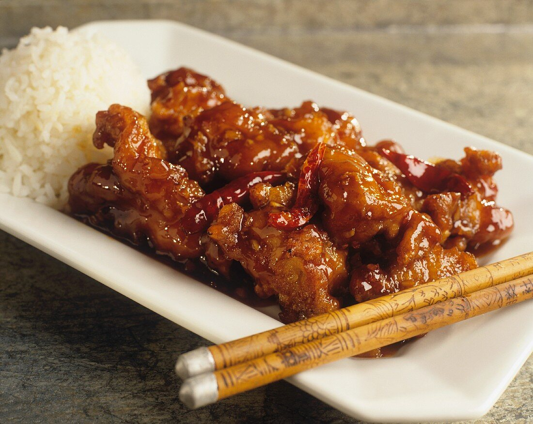 General Tso Chicken (süss-saures Hähnchenfleisch, China)